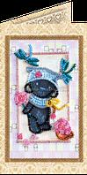 Набор для вышивки бисером открытка Мишка Тедди и стрекозы