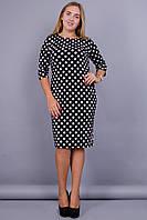 Арина. Платье супер батал. Горох. 58-64