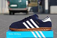 Мужские кроссовки Adidas Hamburg/ кроссовки мужские Адидас Гамбург весна-осень, синие с белым, очень удобные