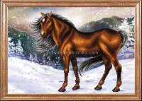 Схема для вышивки бисером Конь на снегу