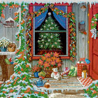 Схема для вышивки бисером Канун Рождества