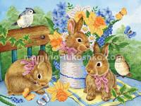 Схема для вышивки бисером Милые крольчата
