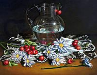 Схема для вышивки бисером Ромашки с черешней