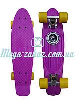 Скейтборд/скейт Penny Board (Пенни борд фиш) Fishskateboards: фиолетовый/желтый, до 80кг