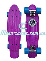 Скейтборд/скейт Penny Board (Пенни борд фиш) Fishskateboards: фиолетовый/голубой, до 80кг, фото 1