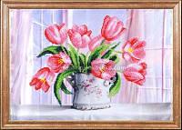 Схема для вышивки бисером Розовые тюльпаны