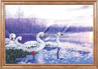 Схема для вышивки бисером Лебеди на закате