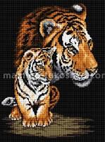 Набор в алмазной технике Тигрица и тигренок