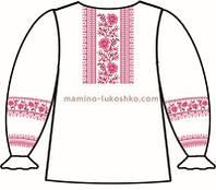 Сорочка для девочек с длинным рукавом под вышивку крестиком, белого цвета