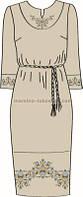 Платье женское с поясом под вышивку крестом и стразами