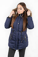 Куртка парка женская М4 с опушкой синяя