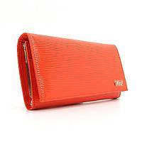 Женский кожаный кошелек на кнопке оранжевый Moro & Jenny 149-21, фото 1