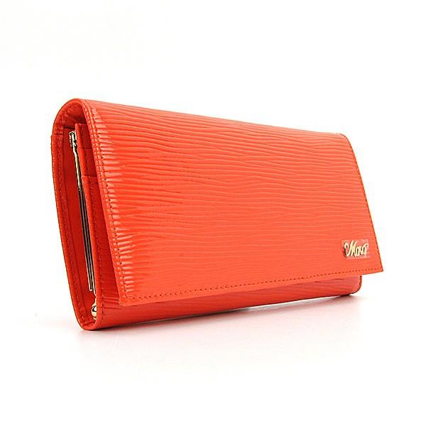 Женский кожаный кошелек на кнопке оранжевый Moro & Jenny 149-21