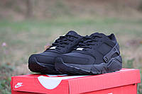 Женские кроссовки Nike Huarache / кроссовки женские Найк Хуараче осень-зима, черные в нубуке, удобные