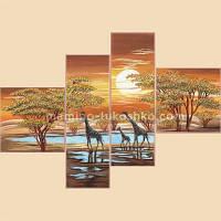 Схема для вышивки бисером Цвета Африки, полиптих из 4 частей