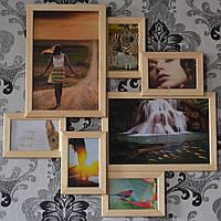 Деревянная мультирамка на 7 фото Волна любви, натуральное дерево