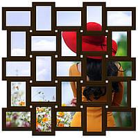 Деревянная мультирамка на 25 фото Классика 25, шоколад (венге)
