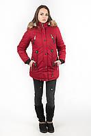 Куртка парка женская М4 с опушкой вишнёвая