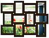 Деревянная мультирамка на 12 фото Классика 12, шоколад (венге)