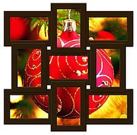 Деревянная мультирамка на 9 фото Классика 9, шоколад (венге)