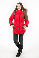 Куртка парка женская М4 с опушкой красная