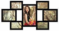 Деревянная мультирамка на 7 фото Семь желаний, черная