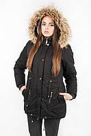 Куртка парка женская М3 с опушкой чёрная
