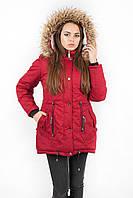 Куртка парка женская М3 с опушкой вишневая