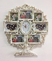 Мультирамка коллаж для фотографий с часами Family на стену