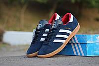 Мужские кроссовки Adidas Hamburg / кроссовки мужские Адидас Гамбург весна-осень, замша, синие, очень удобные