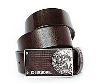 Темно коричневый кожаный ремень для мужчин со стильной пряжкой кежуал в стиле Diesel