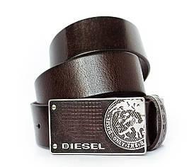 Темно коричневий шкіряний ремінь для чоловіків зі стильною пряжкою в стилі кежуал Diesel