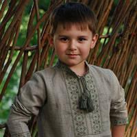Серая вышиванка детская для мальчика с длинным рукавом