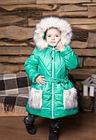 Зимнее пальто для девочек р.110-128, очень теплое зимнее пальто на овчине