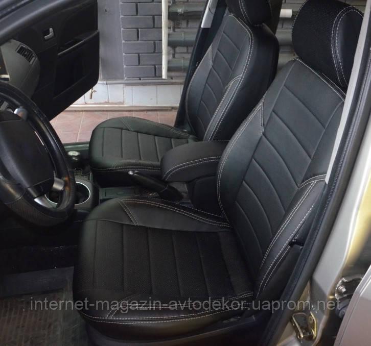 Авточехлы экокожа с двойной строчкой для Dacia (Дачиа)