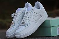 Мужские кроссовки Nike Airforce / кроссовки мужские Найк Аирфорс весна-осень, пресс кожа, белого цвета