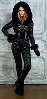 Черный зимний женский комбинезон в стиле Odri