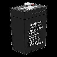 Cвинцово-кислотный аккумулятор АКБ LogicPower LPM 6v-5.2 AH