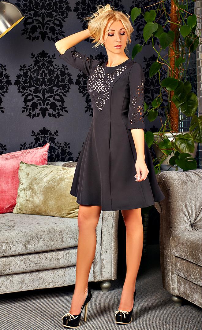 """Нарядное женское платье """" Олимпия """" черного цвета с  белой подкладкой"""