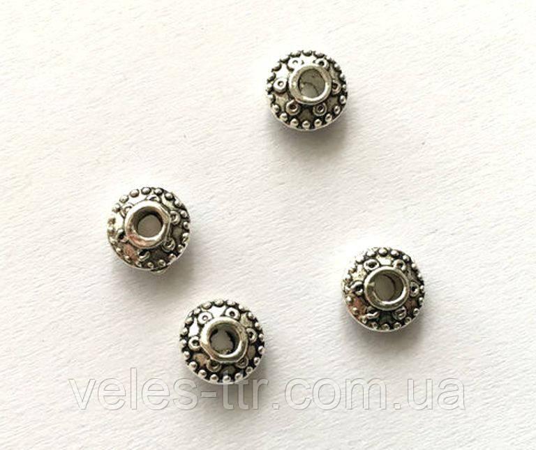 Бусина металлическая разделитель Диск серебро античное 8 мм