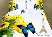 Комплект постельного белья 3d сатин Love you евро размер Мотылек