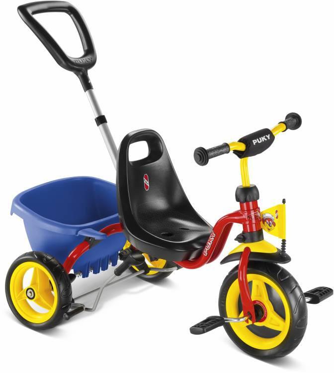 Велосипед детский трёхколесный с ручкой и багажником Puky CAT 1S (детский транспорт)