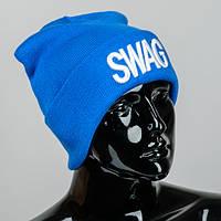 """Вязаная шапка с подворотом """"SWAG"""""""
