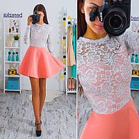 Платье верх гипюр и юбка неопрен