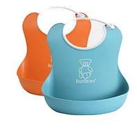 Мягкий нагрудник набор из 2-х шт.(Soft Bib, 2-pack Orange/Turquoise) оранжевый и бирюзовый
