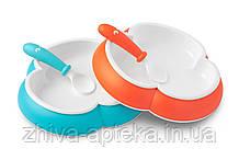 Детский набор двух тарелок ложкой и вилкой (Baby Plate, Spoon and Fork Orange/Turquoise) оранжевый и бирюзовый