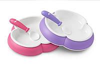 Детский набор двух тарелок ложкой и вилкой (Baby Plate, Spoon and Fork Pink/Purple) розовый и сиреневый