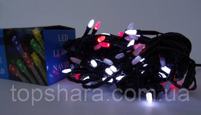 Новогодняя гирлянда на 100 лампочек LED RGB 6.8 м. (цветные диоды)