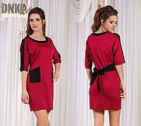 Короткое женское платье №740 с карманами больших размеров(2 цвета)