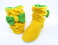 Тапочки Бантики флисовые желтые с бантом зеленым размер 34-43